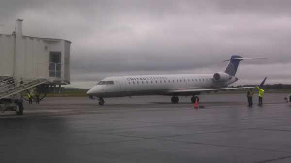 A United Airlines plane lands at Bangor International Airport in this June 2014 file photo.