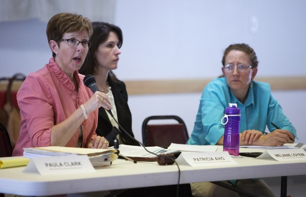 Maine Department of Environmental Protection Commissioner Patricia Aho (left) speaks at a public meeting Wednesday at the Old Town Elks Lodge in Old Town.
