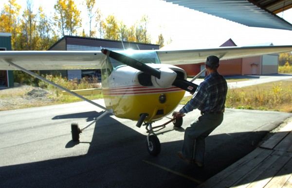 Keith Strange prepares to fly a Cessna 172 at the Lincoln Regional Airport in 2008.