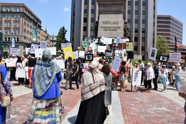 Around 80 people gathered in the center of Portland to protest recent Israeli attacks on the Gaza Strip.