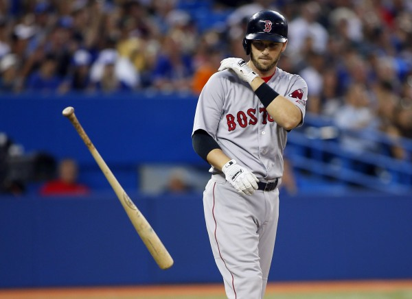 Boston's Stephen Drew throws his bat after striking out against the Toronto Blue Jays in the sixth inning Tuesday night in Toronto. The Blue Jays won 7-3.