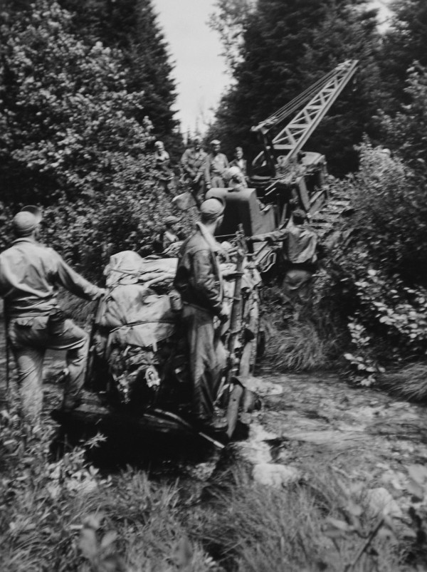 Mario &quotLee&quot Sirabella took this photograph during the salvaging of the B-17 aircraft that crashed near Rangeley in 1944.