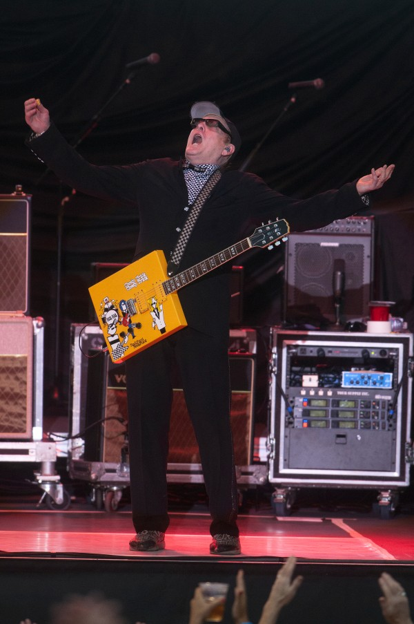 Cheap Trick's Rick Nielsen yells to the crowd during the Boston and Cheap Trick concert Wednesday at Darling's Waterfront Pavilion in Bangor.