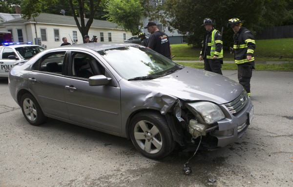 Two cars were involved in an accident that left one car on its side Thursday near the intersection of Third Street and Maxim Court in Bangor.