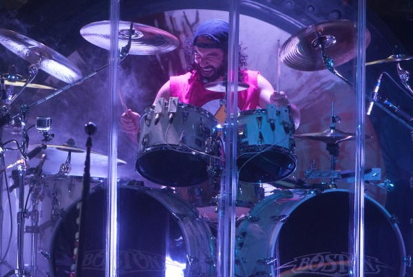 Boston's Curly Smith plays the drums during the Boston and Cheap Trick concert Wednesday at Darling's Waterfront Pavilion in Bangor.