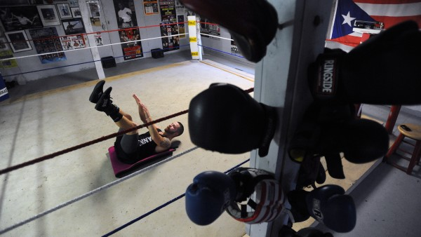 Boxer Brandon Berry of West Forks works out at Wyman's Boxing Club in Stockton Springs.  Berry started working with gym owner Ken &quotSkeet&quot Wyman six years ago and he turned pro in May 2013.