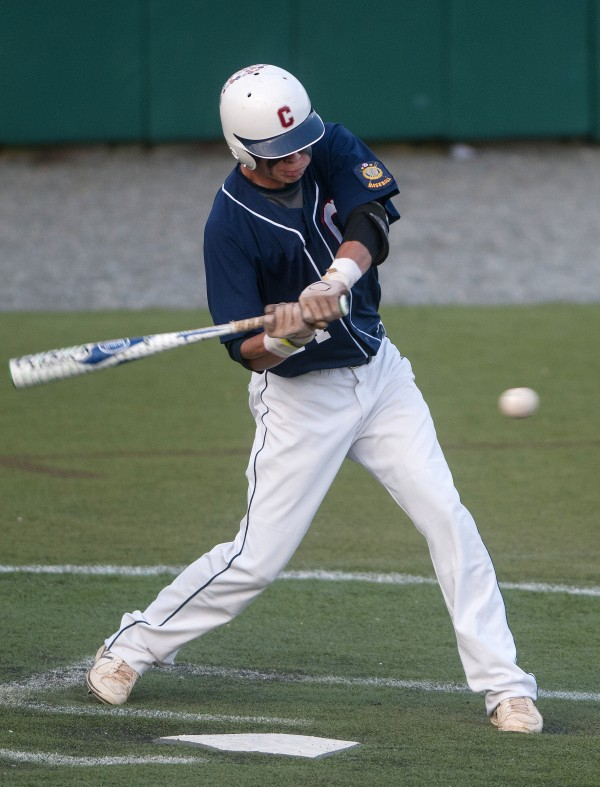 Bangor's Trevor DeLaite connects with a pitch from Pastime Club during their American Legion state baseball tournament game Thursday night at Husson University in Bangor.