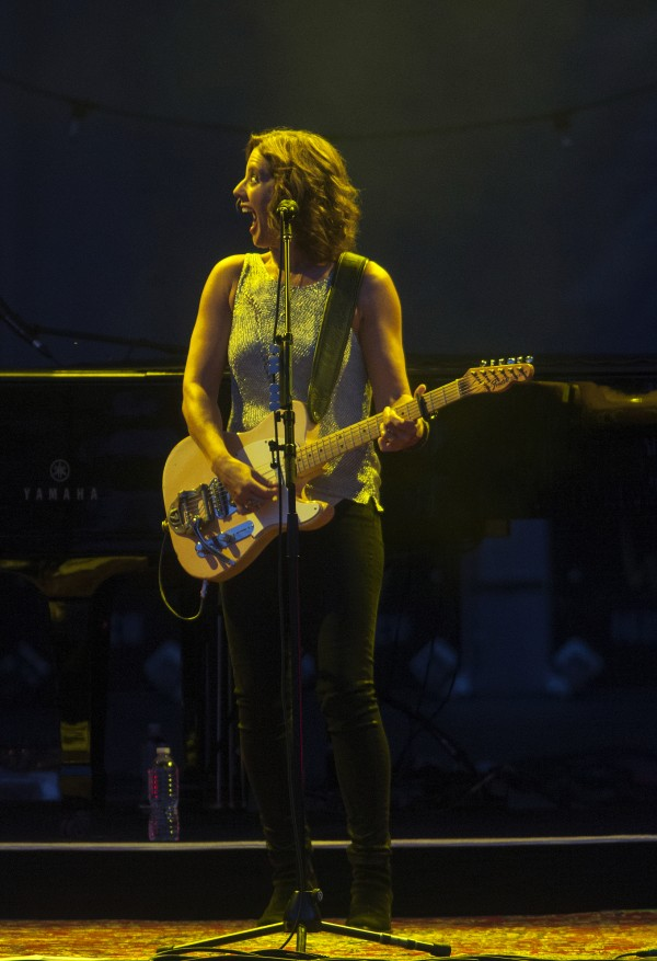 Sarah McLachlan laughs with bandmates during her show at the Darling's Waterfront Pavilion on Friday in Bangor.