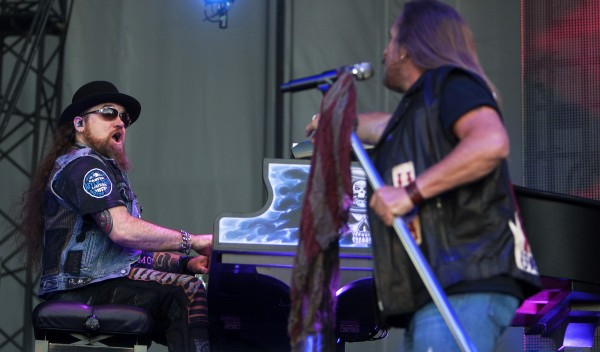 Lynyrd Skynyrd's Peter Keys (left) Johnny Van Zant preform during the Bad Company and Lynyrd Skynyrd show at the Darling's Waterfront Pavilion in Bangor.
