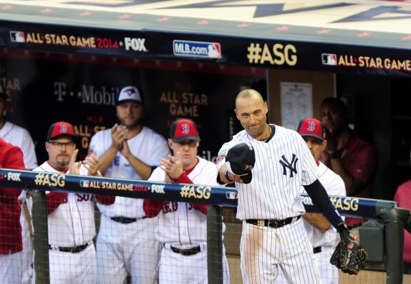 American League shortstop Derek Jeter (2) of the New York Yankees takes a curtain call after being replaced in the 4th inning during the 2014 MLB All Star Game at Target Field in Minneapolis Tuesday night.
