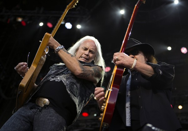 Lynyrd Skynyrd's Rickey Medlocke (left) and Gary Rossington jam out during the Bad Company and Lynyrd Skynyrd show at the Darling's Waterfront Pavilion in Bangor.
