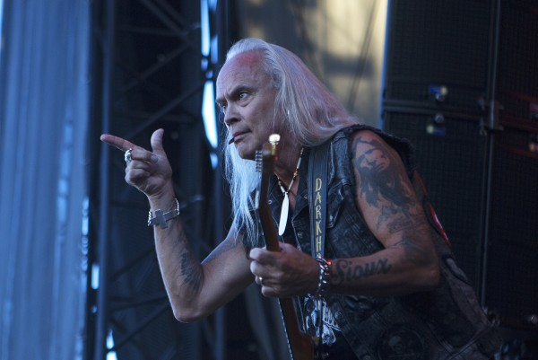Lynyrd Skynyrd's Rickey Medlocke amps up the crowd during the Bad Company and Lynyrd Skynyrd show at the Darling's Waterfront Pavilion in Bangor.