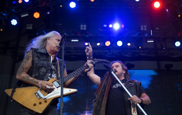 Lynyrd Skynyrd's Rickey Medlocke (left) and Johnny Van Zant play during the Bad Company and Lynyrd Skynyrd show at the Darling's Waterfront Pavilion in Bangor.