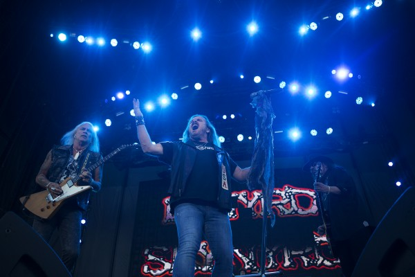Lynyrd Skynyrd's Johnny Van Zant (center) amps up the crowd during the Bad Company and Lynyrd Skynyrd show at the Darling's Waterfront Pavilion in Bangor.