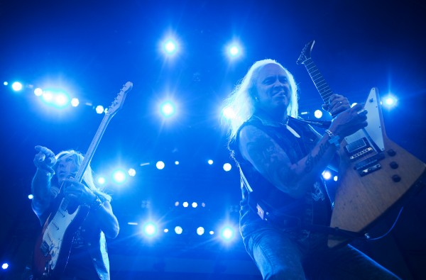 Lynyrd Skynyrd's Mark Matejka (left) and Rickey Medlocke rock out during the Bad Company and Lynyrd Skynyrd show at the Darling's Waterfront Pavilion in Bangor.