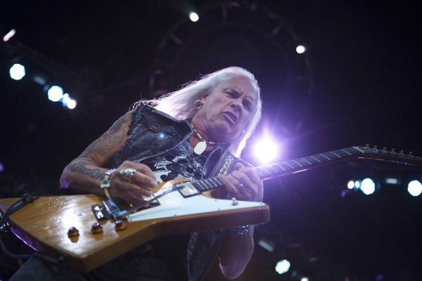 Lynyrd Skynyrd's Rickey Medlocke jams out during the Bad Company and Lynyrd Skynyrd show at the Darling's Waterfront Pavilion in Bangor.