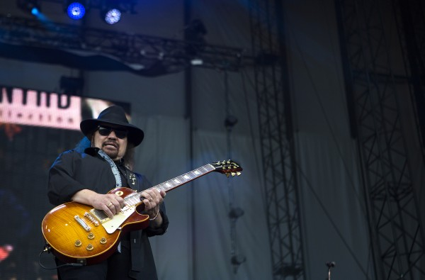 Lynyrd Skynyrd's Gary Rossington plays the guitar during the Bad Company and Lynyrd Skynyrd show at the Darling's Waterfront Pavilion in Bangor.