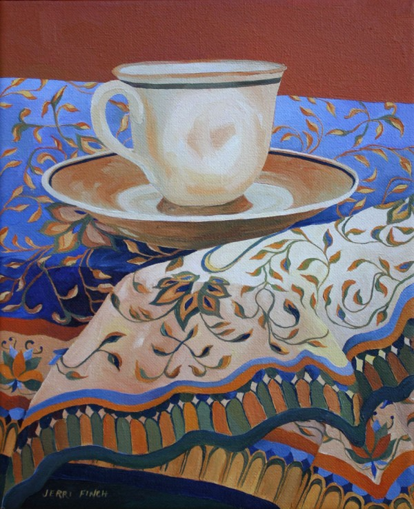 Tea Cup and Blue Fabric by Belfast artist Jerri Finch