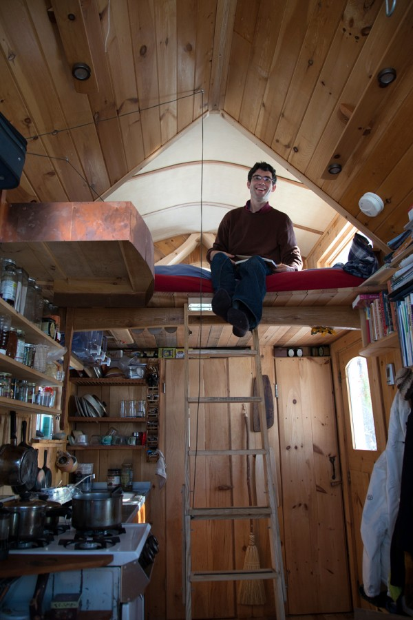 Aldo Lavaggi said that thanks to his tiny house, he &quotearns more than he spends,&quot as a folk musician. His home features a lofted bed, composting toilet, wood burning stove and full sink, and runs on a car battery and solar power.
