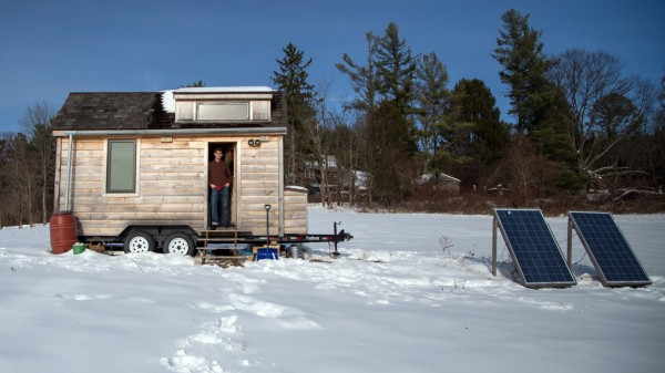 Aldo Lavaggi said extreme downsizing was &quotan experiment in voluntary simplicity,&quot for him. He built his 105-square-foot timber house on a friend's farmland in New York's Hudson Valley and has lived in it since August 2012.