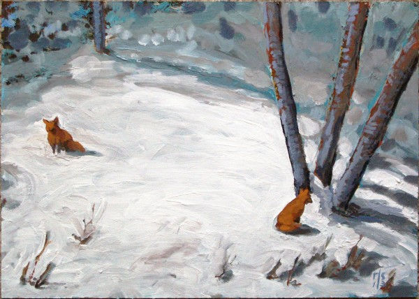 &quotBleak Mid-winter- Foxes by the Ash Trees&quot Acrylic on Panel, 15&quot x 11&quot, 2011