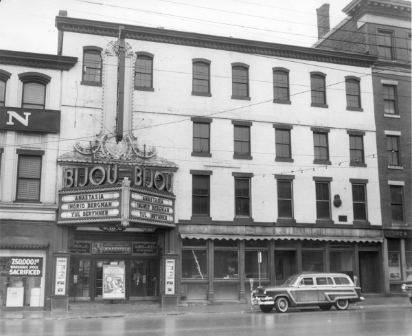 In January 1957, &quotAnastasia,&quot starring Ingrid Bergman and Yul Brynner, was playing at The Bijou at 164 Exchange St. To the right of The Bijou is the former site of the Bangor Daily News at 170 Exchange St.