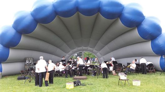 The Bangor Band preparing to perform under the new &quotBlue Clamshell&quot concert shell.