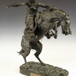 """""""Bronco Buster"""", a bronze sculpture by Frederic S. Remington (NY/KS, 1861-1909), one of over 1,100 lots of fine art and antiques to be sold in Thomaston Place Auction Galleries Summer Auction on August 23 & 24."""