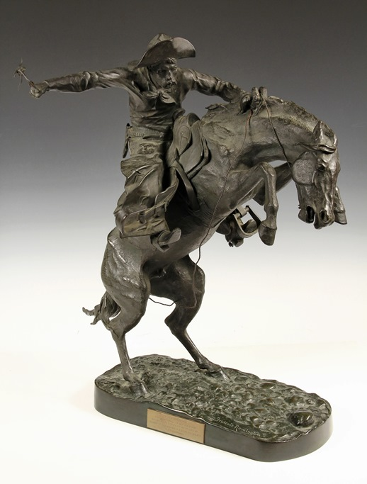 """Bronco Buster"", a bronze sculpture by Frederic S. Remington (NY/KS, 1861-1909), one of over 1,100 lots of fine art and antiques to be sold in Thomaston Place Auction Galleries Summer Auction on August 23 & 24."