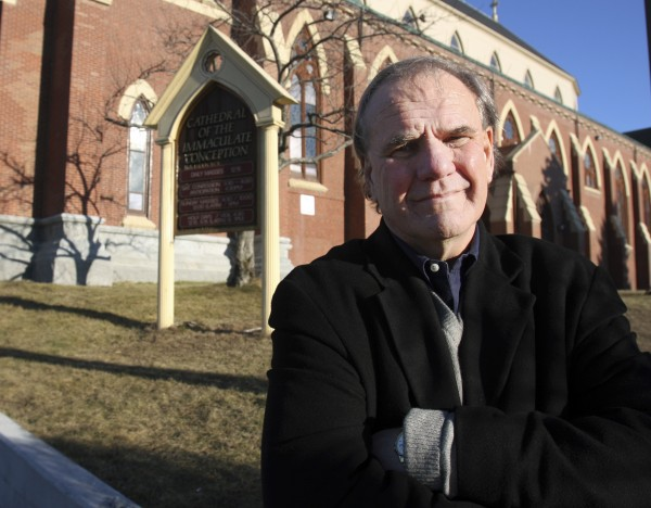 Paul Kendrick stands in front of the Cathedral of the Immaculate Conception on Monday, Dec. 29, 2008.