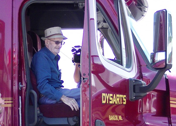 Thomas Follette, 100, sits in a truck at Dysart's.