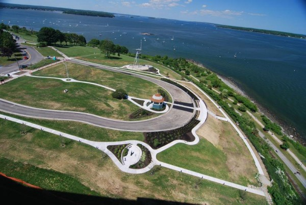 A recent aerial view of Fort Allen Park, on the southern tip of Portland's Eastern Promenade, shows the roadway and pedestrian paths that have been restored to their original dimensions.