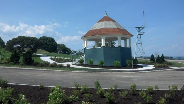 The roadway that loops around Fort Allen Park's bandstand has been restored to its original route.