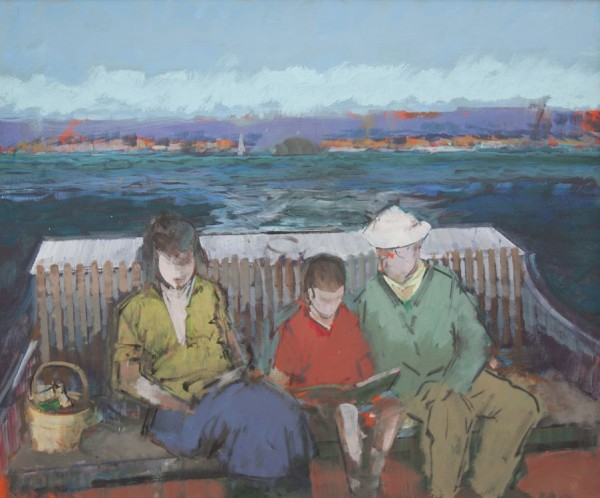 Heliker, &quotThe Boat Ride,&quot oil on canvas, 25 x 30 inches.