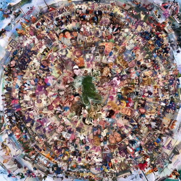 Mandala by Julian Parker-Burns. Photos of students and staff throughout the years.