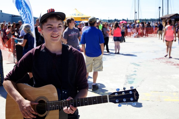 Tyler Flavin, 17, of Wiscasset gets ready to audition for American Idol on Wednesday on the Maine State Pier in Portland.