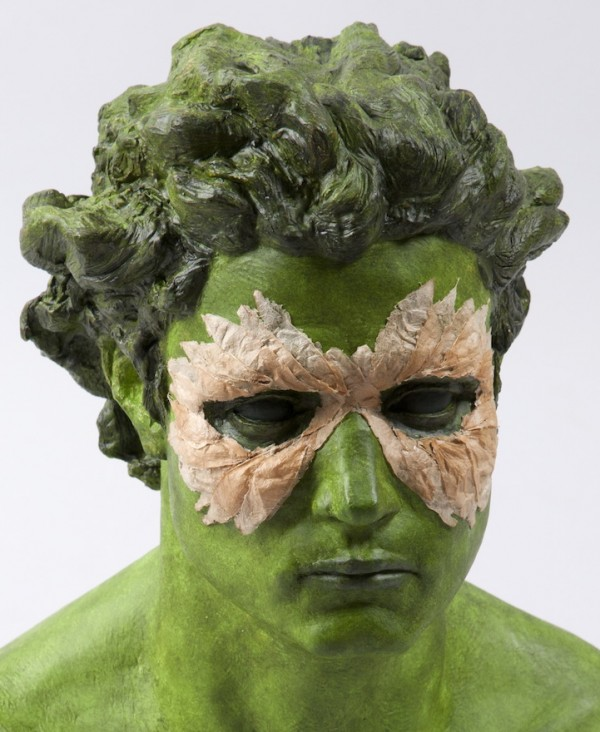 "DETAIL of 'Green Man', 2013, Cast Plaster, Tomatillo Shells, Gouache and Pigmented Wax, 21"" x 14"" x 9"""