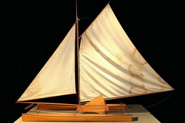 Model of the LOA Catamaran 'Amaryllis' designed by Nathaniel Green Herreshoff in 1875, to be sold at Thomaston Place Auction Galleries on August 23 & 24