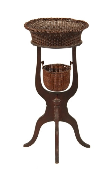 Nantucket basket folk art sewing table, a rare piece of American folk art to be sold at Thomaston Place Auction Galleries on August 23 & 24