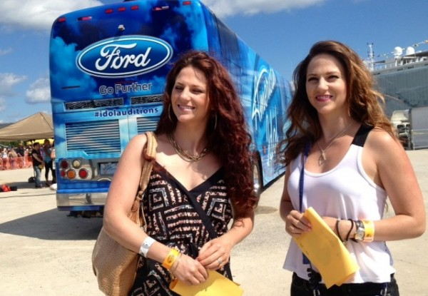Ali Stauble (right) of Bangor performed with her twin sister, Susie Pepper at the American Idol auditions on Wednesday in Portland.