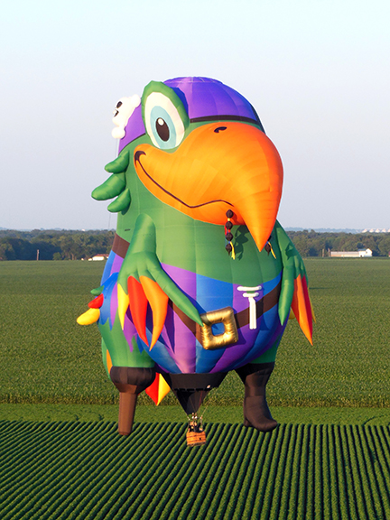 Pegleg Pete will delight visitors at the Great Falls Balloon Festival in Lewiston/Auburn, Maine, August 15–17, 2014.
