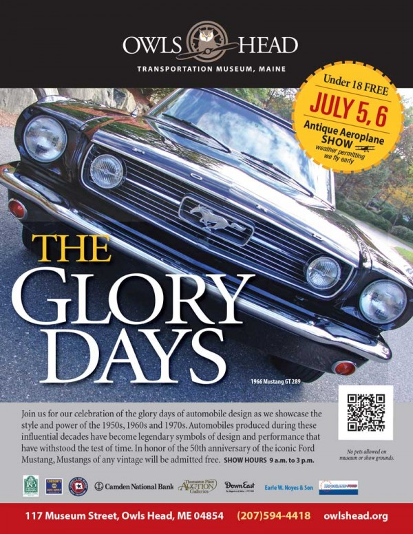 Celebrate The Glory Days at the Owls Head Transportation Museum Saturday, July 5 and Sunday, July 6.