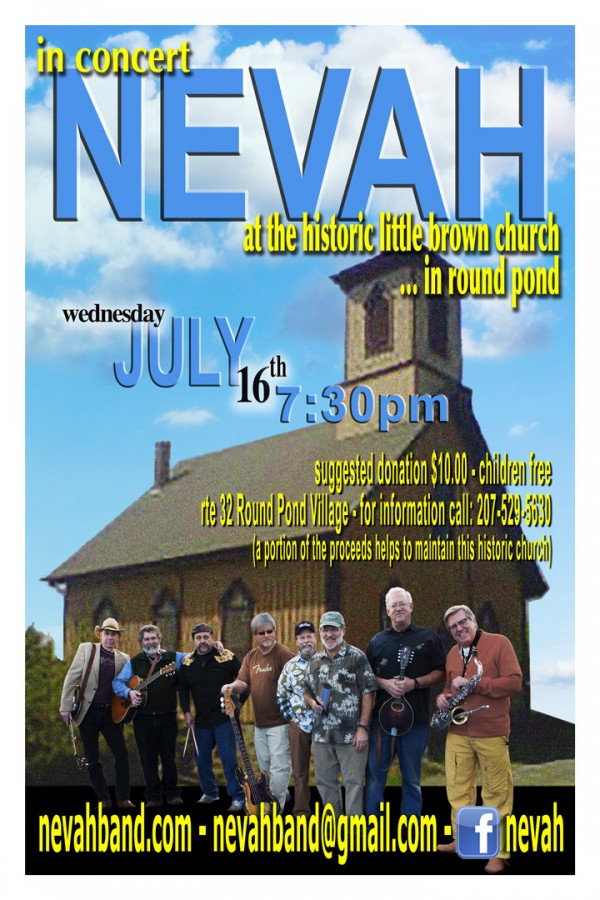 NEVAH in concert at Little Brown Church in Round Pond - wed - 7/16 @ 7:30 pm