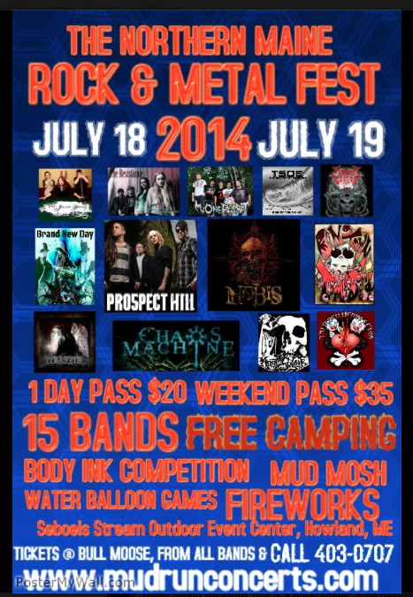 15 bands including Prospect Hill and Nobis perform at the Northern Maine Rock and Metal Fest
