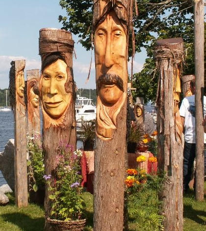 Ron Cowan of &quotThe Garden Muse Sculptured Faces from Belfast is just one of the wood carvers at this year's 34th Annual Rangeley Logging Festival and Parade