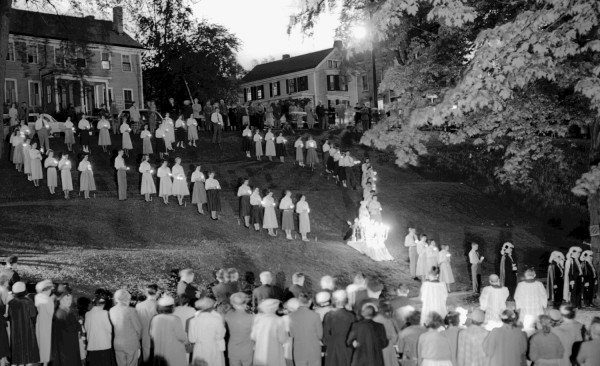 In spring 1954 pupils of St. Mary's Catholic School formed a symbolic heart with lighted flashlights in front of the statue of the Blessed Mother during the Living Rosary held in Davenport Park in Bangor. The Right Rev. Monsignor Edward F. Ward led the recitation of the Rosary which was attended by more than 1,000 people.