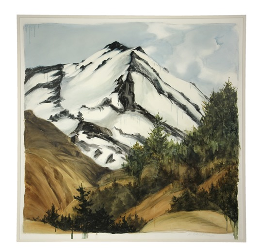 """Ruapehu"" a 1994 oil on linen painting by contemporary Maine artist Marguerite Robichaux (1950 - ) to be sold at Thomaston Place Auction Galleries on August 23 & 24"