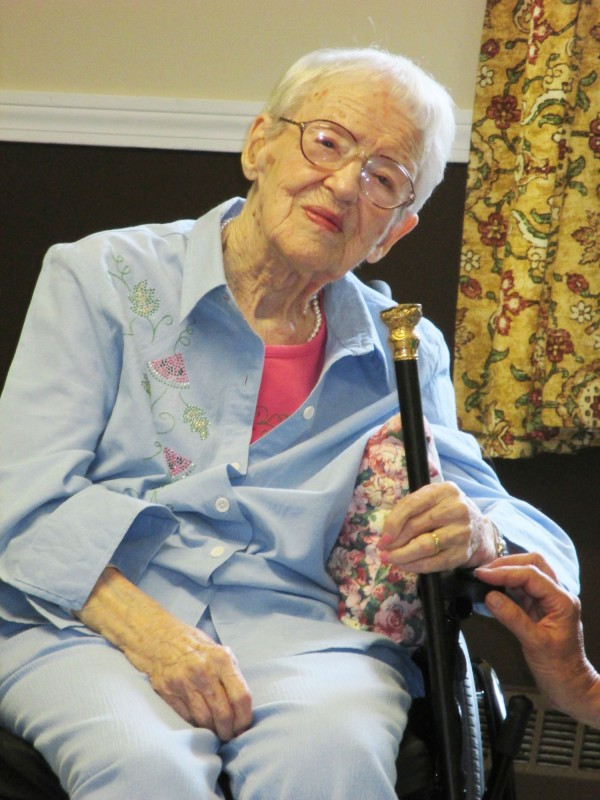 Sarah Fahey, at 103 is Greenville's oldest resident. She was delighted to receive the Boston Post Cane.