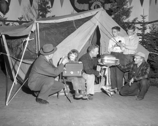 Members of the Penobscot Conservation Club in charge of the March 1953 Bangor Sportsman's Show had everything ready for opening day. Members were (from left) Co-chairman Forrest Marsh, Judy Ann Gilley, Dr. Frank Gilley, Carl McLaughlin, Carl Snow Jr. and Jimmie Sawyer. (Bangor Daily News File Photo by Spike Webb)