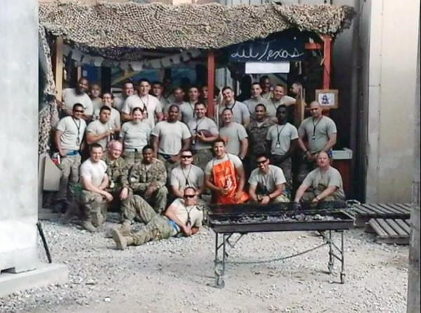Recipients of the gift box from TAMC employees, the men and women of the 455th Expeditionary Aircraft Maintenance Squadron currently stationed in Afghanistan, sent along this photo with a note of thanks to the team members who collected the items.
